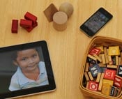 iPad and children's blocks