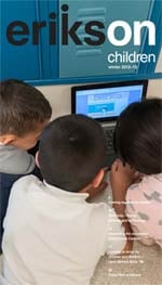 Erikson on Children, Winter 2012–13 cover, showing three children gathered around a laptop sitting in front of school lockers.